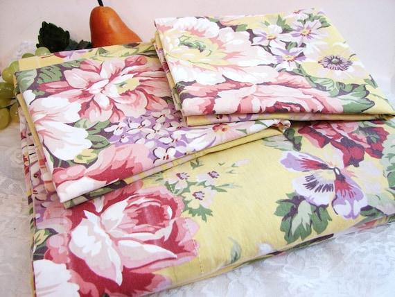 Vintage Ralph Lauren Brooke Floral Full Queen 3 Pc Sheet