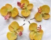 Golden yellow Orchid hair fascinators mini real touch phalaenopsis orchid hair clips bridal hair clip tropical fascinator