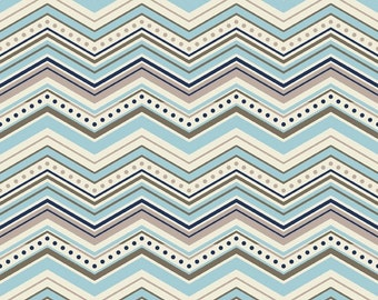 "LAST PIECE 1 Yard 17"" of One For The Boys Chevron Blue by Zoe Pearn for Riley Blake"