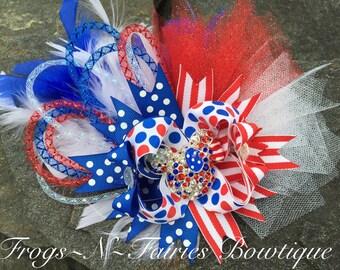 Minnie Patriotic Rhinestone Bling OTT Boutique Hairbow