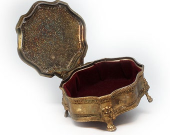 Footed, Felt Lined Ornate Vintage Brass Medallion Casket Lid Jewelry Box