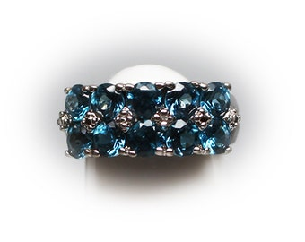 Sterling Silver  Blue Colored Round Cut CZ Aquamarine Simulant Cluster Ring