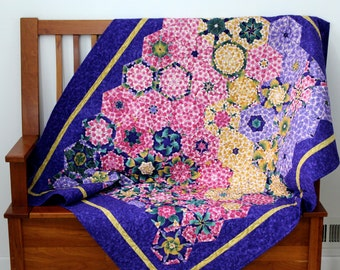 Art Quilt , Geometric Throw ,  Purple Gold and Pink , Quilted Wall Hanging , Quilts for Sale