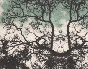 Mandala art, etching on handmade paper