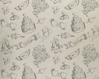 Lets Have a Wedding Wrapping Paper SPS1058 - Kraft Wrap - Wrapping Paper - Recycle - Wrap - Scrapbooking