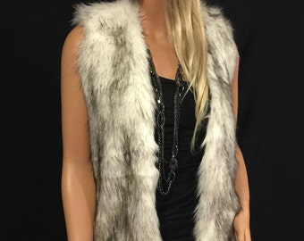 Faux Fur Vest Hip Length In Alaskan Husky  Style: FVA504