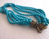 SALE 35% OFF//vintage teal turquiose floral clasp layered necklace