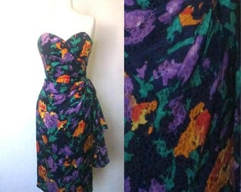 FREE SHIPPING//Strapless blue purple roses dress//Size small