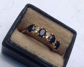 reserved drmolina2011 14K yellow gold diamond and sapphire ring    VJSE