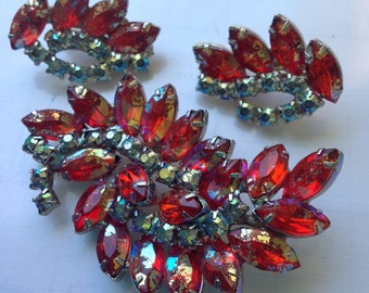 Delizza and Elster, fire red orange Juliana Crystal ab brooch and earrings    VJSE