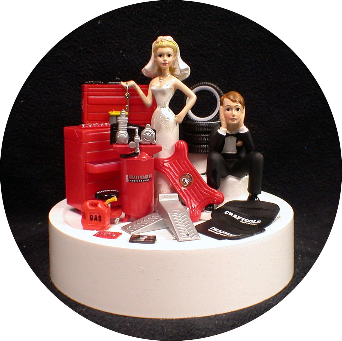 Car AUTO MECHANIC Wedding Cake Topper Key Bride & Groom Tool