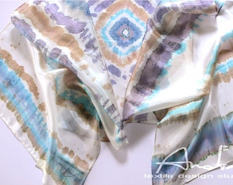 Silk shawl turquoise, shibori shawl turquoise, hand painted scarf - Hand painted silk accessory OOAK ready to ship