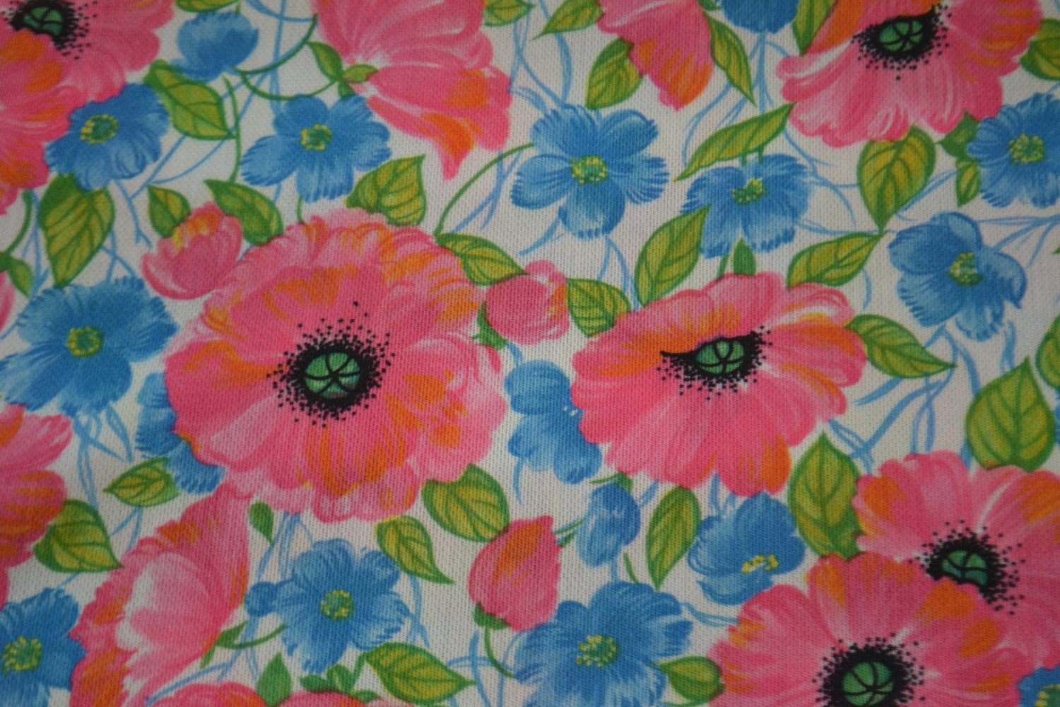 pink orange blue floral vintage fabric material by vintageno35. Black Bedroom Furniture Sets. Home Design Ideas