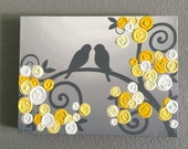Yellow and Gray Nursery Art, Textured Birds and Flowers, Acrylic Painting on Canvas, made to order