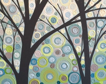 Modern Textured Tree Painting, Acrylic, 18x24 Ready to Ship Wall Art, Blue, Green, Grey, Aqua, Turquoise