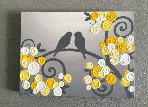 Wall art yellow and grey textured birds and flowers acrylic - Peinture facile a reproduire ...