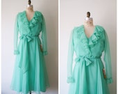 Vintage Green Gown / 70s Mint Ruffled Maxi Dress / Deadstock with Tags / Medium Large