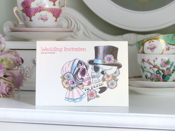Til death sugar skull tattoo day of the dead tattoo wedding invitations