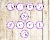 Giraffe Banner - Its a Girl Purple Zebra Baby Shower Party Decoration Printable INSTANT DOWNLOAD