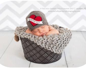 Mommy's Heartbreaker - Newborn/Baby Valentine Beanie - Made to Order
