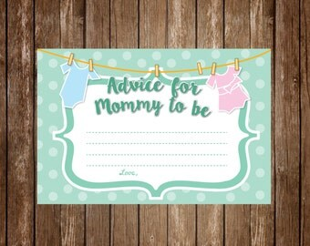 Advice for Mommy to Be - Baby Shower/Gender Reveal Party Game - Gender Neutral