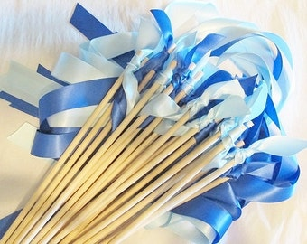 Tie the Knot - Satin Wedding Ribbon Wands - Custom Colors - Pack of 50 - Shown in Light Blue and Royal Blue