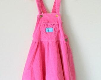 1980s PINK CORDUROY Osh Kosh JUMPER Dress....size 6...kids. girls. children. pink dress. 1980s kids. retro. osh kosh. designer kids