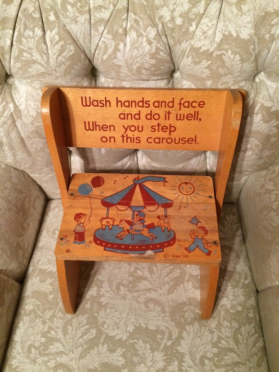 50s Childrens Step Stool Reads Wash Hands And Face And Do It