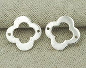 4 of 925 Sterling Silver Clover Links, Connectors 16mm. :tk0004