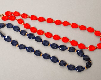 Set of 2 Vintage glass bead  necklace, blue and red.