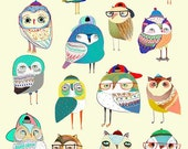 Owl Party. Unique Owl Print by Ashley Percival. This will look great on any wall. Kids art - Owl print - Childrens decor - Illustration.