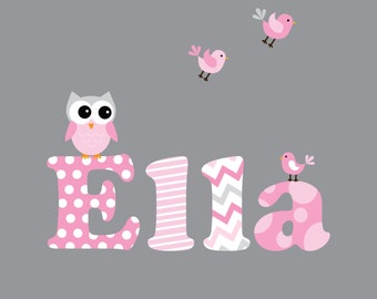 Nursery Wall Decals-Name Decal with Owl,Birds-Wall Stickers-e21