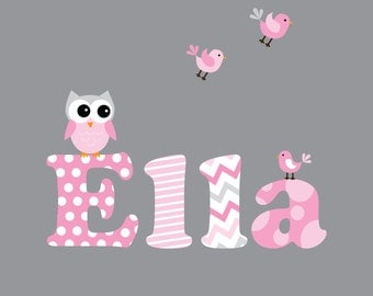 Nursery Wall Decals-Name Decal with Owl,Birds-Wall Stickers