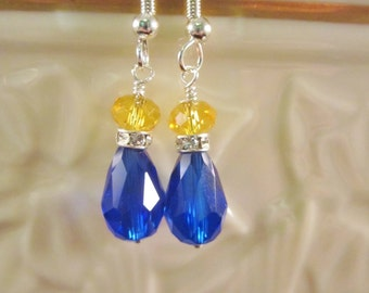 Crystal Earrings, Sapphire Blue and Yellow,  Bridal, Wedding, Bridesmaid, Formal, Prom,SRAJD