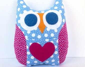 Personalized Owl Tooth Fairy Pillow - Sky Blue with Hot Pink Wings