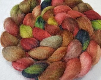 Hand Dyed Alpaca/Merino/Tussah Silk Roving - 50/30/20 - 4 oz - Muted Turkey Red, Brown and Meadow Greens