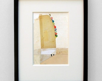 Ascent - original framed collage - abstract, whimsical, art, colorful