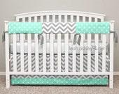 Bumperless Crib Bedding - Crib Skirt, Teething Crib Rail Cover - Quinn4 - Mint, Gray, White - TS2