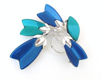 Vintage Lisner Brooch Blue Green Thermoset Modernist Jewelry Pin Geometric Design Lucite Silver Tone Metal
