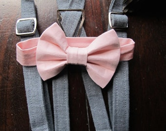 Linen Ring Bearer Outfit, 2 Piece Set, Ring Bearer Bowtie, and Suspenders.  Wedding Outfit for Ringbearer