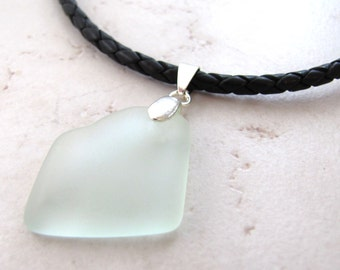 Leather Sea Glass Necklace Seaglass Aqua Coke Bottle Leather Recycled Eco BellinaCreations