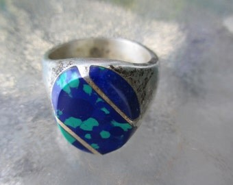 VTG Men's Malachite Turquoise Mexican Sterling Men's Ring 9 3/4