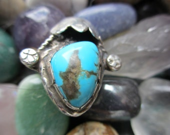 Vintage Navajo Turquoise Sterling Ring 7 1/4
