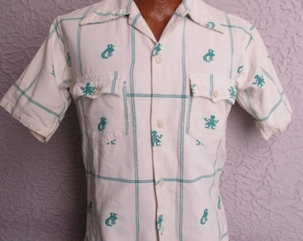 50's Vintage Men's Mexican Hippie Cabana Shirt sm/med
