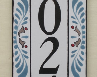 Vertical House Number Tile with Slate Blue, Red and Mocha