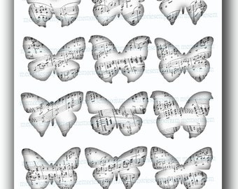 Butterflies Musical Black and White Digital Collage Sheet Butterfly Wings Silhouettes Music Notes for DIY Printable Instant Download 653