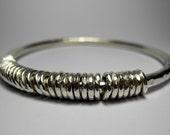 Hammered silver jangle bangle