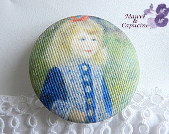 Button  fabric, printed Renoir, 22 mm / 0.86 in