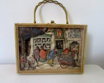 Anton Pieck Original 3D Collage Handbag Visual Art Collectible