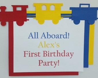 Choo Choo Train Birthday Party, Train baby Shower - Door Sign - Choice of Colors